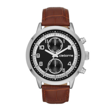 jcpenney.com | Claiborne® Mens Black Dial Brown Leather Strap Watch