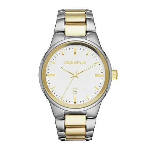 Claiborne® Mens Two-Tone Metal Link Watch