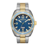 Claiborne® Blue Dial Two-Tone Metal Link Watch
