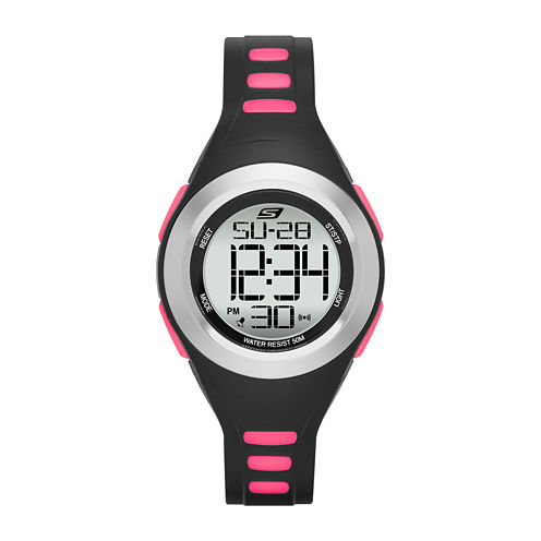 Skechers® Womens Black and Pink Strap Digital Watch