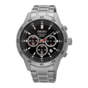 Seiko® Mens Stainless Steel Chronograph Bracelet Watch SKS519
