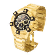 Invicta® Mens Gold-Tone Ion-Plated Stainless Steel Black Dial Bracelet Watch