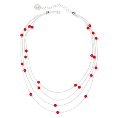 jcpenney.com | Liz Claiborne® Red Silver-Tone Illusion Necklace