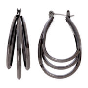 Liz Claiborne® Gray Polished Steel Layer Hoop Earrings