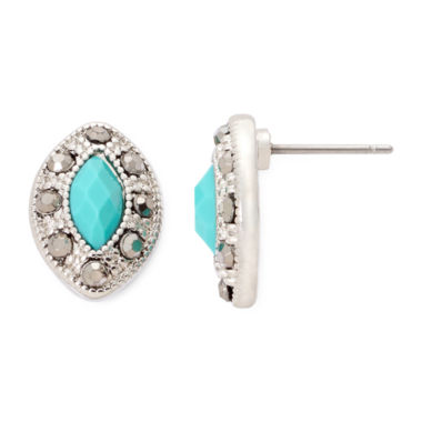 jcpenney.com | Monet® Green Silver-Tone Button Earrings