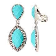 Monet® Green Silver-Tone Clip-On Drop Earrings