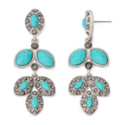Monet® Green Silver-Tone Drop Earrings