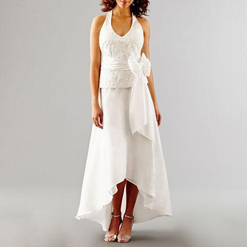Blu Sage Sleeveless Embroidered Halter Wedding Gown