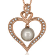 Freshwater Pearl Lab-Created Sapphire 14K Rose Gold Over Silver Pendant