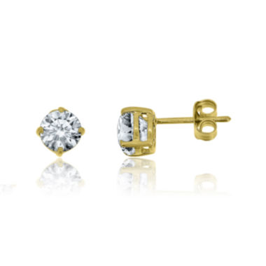 jcpenney.com | Lab-Created White Sapphire 14K Yellow Gold over Silver Earrings