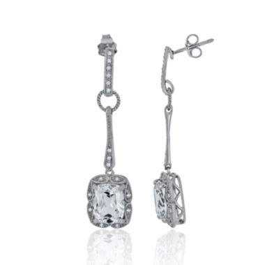 jcpenney.com | 1/7 CT. T.W. Diamond & Lab-Created White Sapphire Sterling Silver Drop Earrings