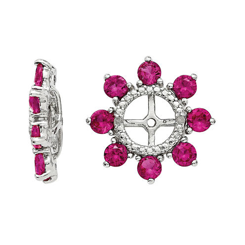 Lab-Created Ruby and Diamond Accent Sterling Silver Earring Jackets