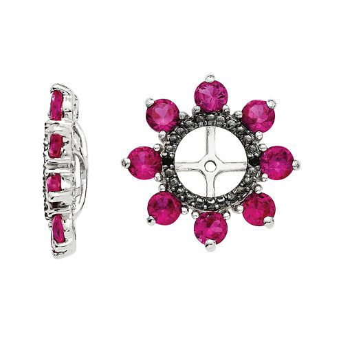 Lab-Created Ruby and Genuine Black Sapphire Earring Jackets