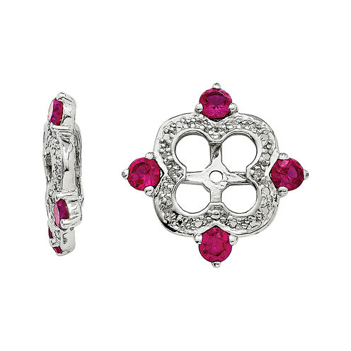 Diamond Accent & Lab-Created Ruby Sterling Silver Earring Jackets