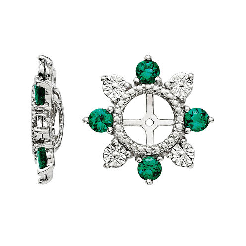 Lab-Created Emerald Sterling Silver Earring Jackets