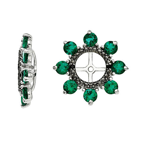 Lab-Created Emerald and Genuine Black Sapphire Earring Jackets