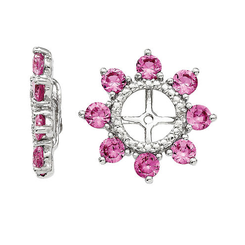 Lab-Created Pink Sapphire and Diamond Accent Earring Jackets