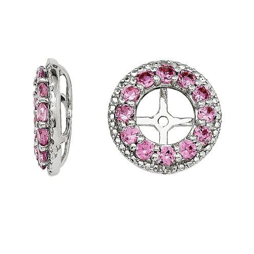 Diamond Accent & Lab-Created Pink Sapphire Sterling Silver Earring Jackets