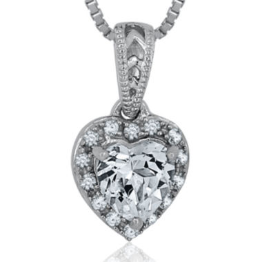 jcpenney.com | Lab-Created White Sapphire Sterling Silver Heart Pendant Necklace