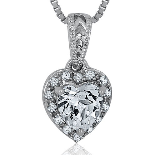 Lab-Created White Sapphire Sterling Silver Heart Pendant Necklace