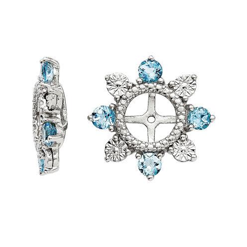 Genuine Swiss Blue Topaz Sterling Silver Earring Jackets