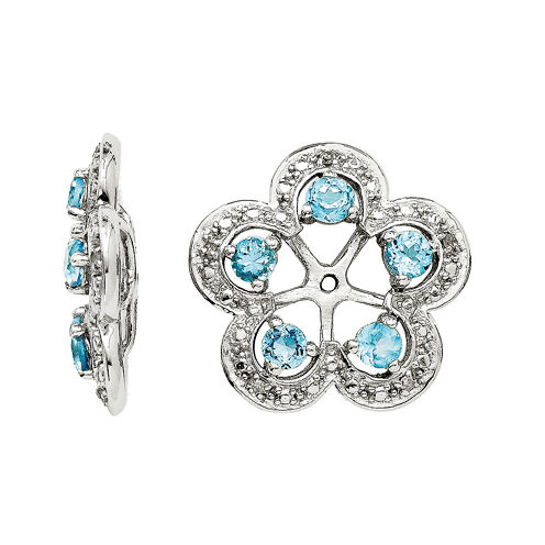 Diamond Accent & Simulated Swiss Blue Topaz Sterling Silver Earring Jackets