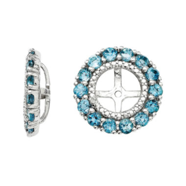 jcpenney.com | Diamond Accent and Irradiated Swiss Blue Topaz Sterling Silver Earring Jackets