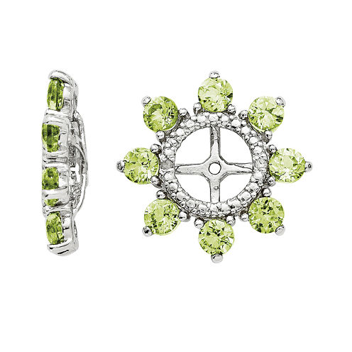 Genuine Peridot and Diamond Accent Sterling Silver Earring Jackets