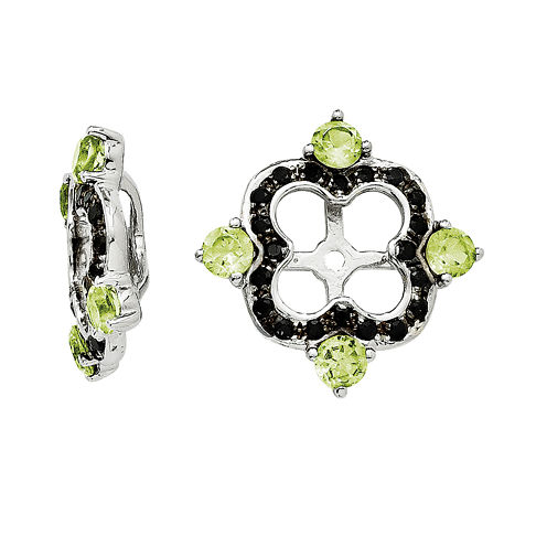 Genuine Black Sapphire and Peridot Sterling Silver Earring Jackets