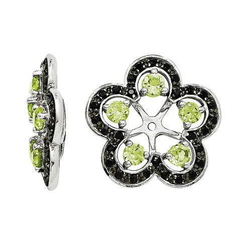 Genuine Peridot and Black Sapphire Sterling Silver Earring Jackets