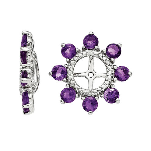 Genuine Amethyst and Diamond Accent Sterling Silver Earring Jackets