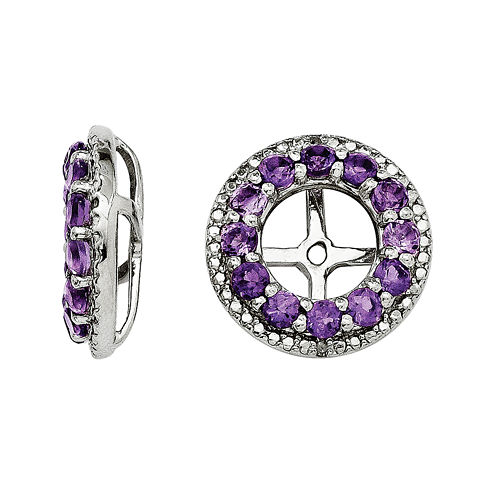 Genuine Amethyst and Diamond Accent Earring Jackets