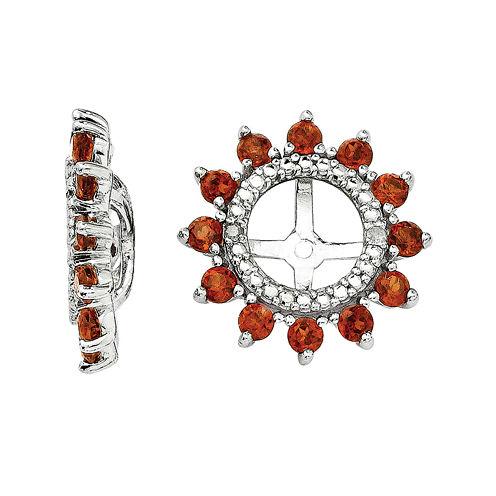 Diamond Accent & Genuine Garnet Sterling Silver Earring Jackets