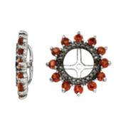 Genuine Garnet & Black Sapphire Sterling Silver Earring Jackets