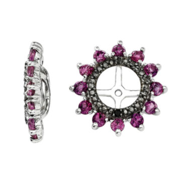 jcpenney.com | Genuine Rhodolite Garnet and Black Sapphire Sterling Silver Earring Jackets