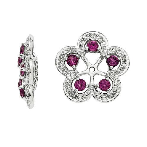 Genuine Purple Rhodolite Garnet and Diamond Accent Earring Jackets
