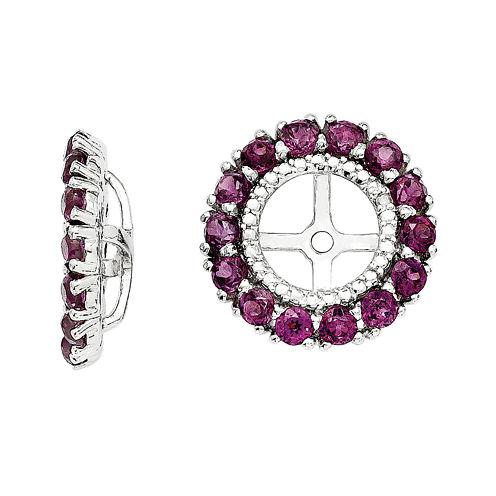 Diamond Accent and Genuine Purple Rhodolite Garnet Earring Jackets