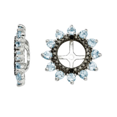 jcpenney.com | Genuine Aquamarine and Black Sapphire Sterling Silver Earring Jackets