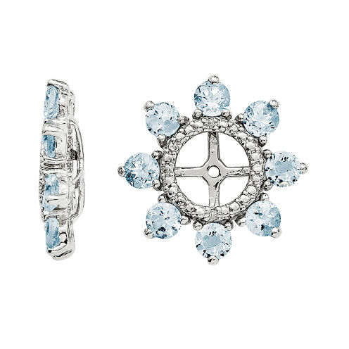Sterling Silver Diamond Accent & Aquamarine Earring Jackets