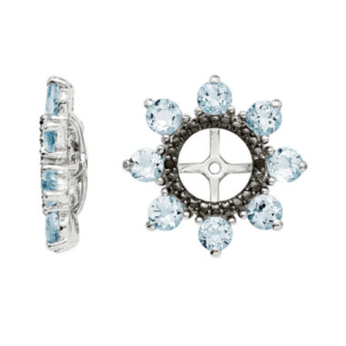 jcpenney.com | Genuine Aquamarine & Black Sapphire Sterling Silver Earring Jackets