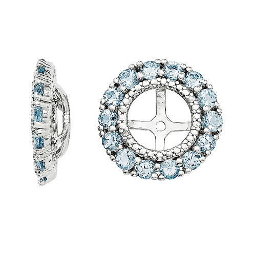Diamond Accent and Heat-Treated Aquamarine Earring Jackets