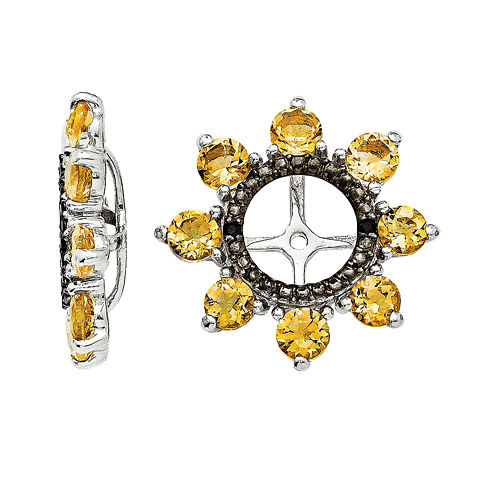 Genuine Citrine & Black Sapphire Sterling Silver Earring Jackets