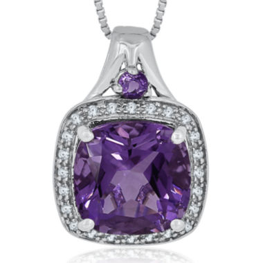 jcpenney.com | 1/8 CT. T.W. Diamond & Genuine Amethyst Sterling Silver Pendant Necklace