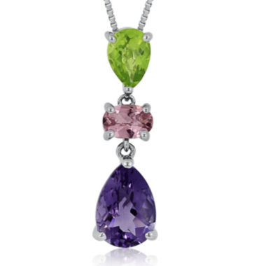 jcpenney.com | Genuine Amethyst, Peridot & Pink Tourmaline Sterling Silver Pendant
