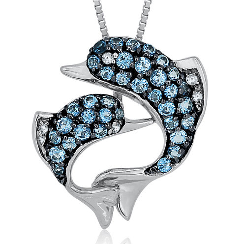 Blue Topaz & Lab-Created White Sapphire Sterling Silver Dolphin Pendant Necklace