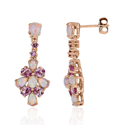 Lab-Created Pink Opal & Pink Sapphire 14K Rose Gold Over Silver Earrings