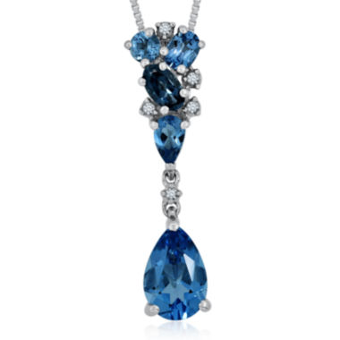 jcpenney.com | Genuine London and Swiss Blue Topaz with Diamond Accent Sterling Silver Pendant