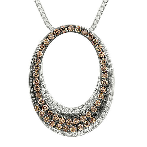 1/2 CT. T.W. White and Champagne Diamond Circle Pendant Necklace