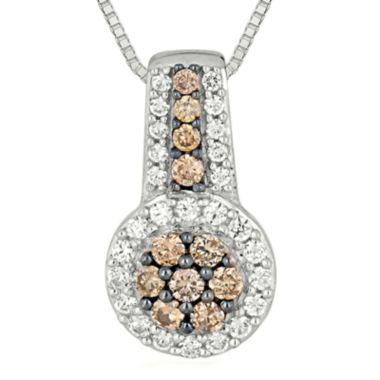jcpenney.com | 1/2 CT. T.W. Champagne & White Diamond 10K White Gold Pendant Necklace