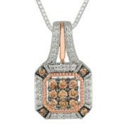 3/8 CT. T.W. Champagne & White Diamond 10K Two-Tone Gold Pendant Necklace